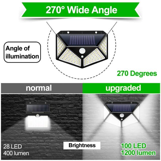 Goodland 100 LED Solar Light Outdoor Solar Lamp Powered Sunlight Waterproof PIR Motion Sensor Street Light for Garden Decoration 5