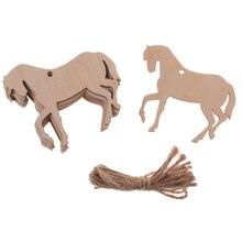 10Pcs MDF Wood Horse Shape Craft Tag Scrapbooking Decor DIY Piece