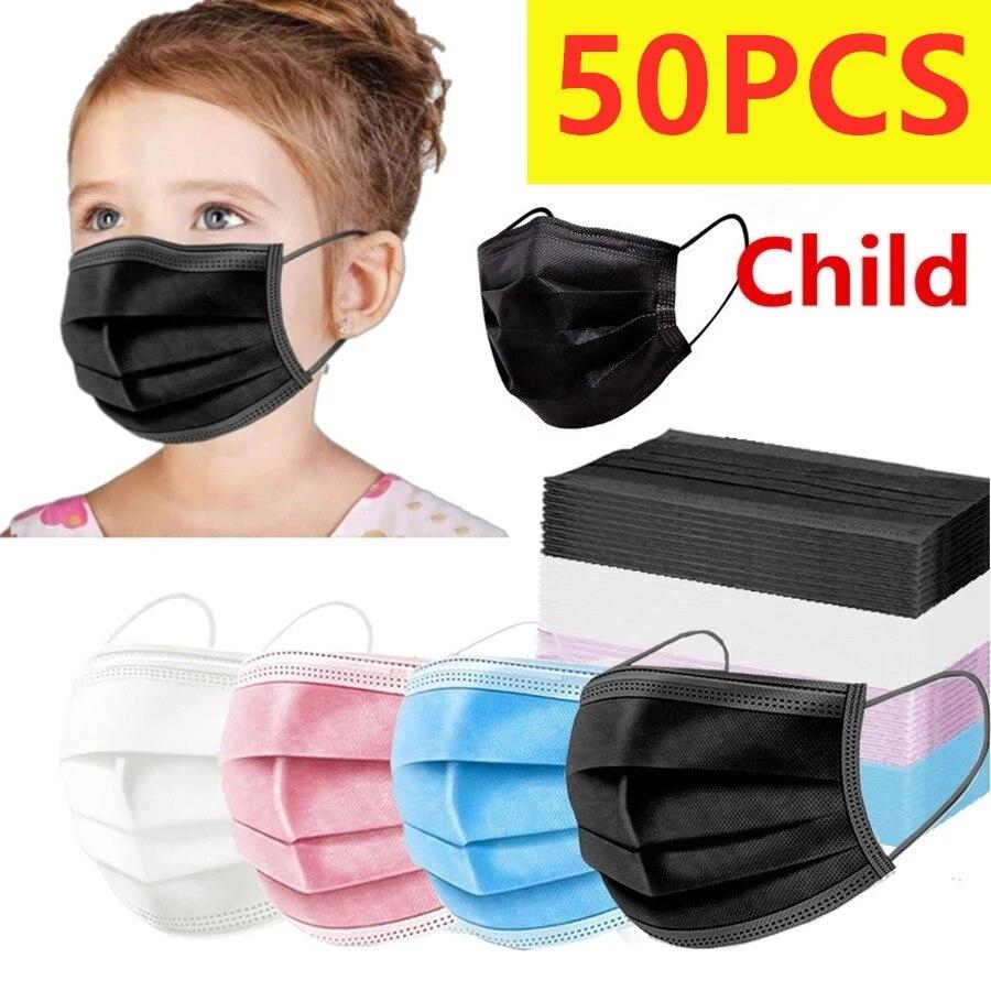 50 шт. маска одноразовая маска для детей ребенок уход за кожей лица маска 3-х слойные одноразовый нетканый материал защиты детей маска для дет...