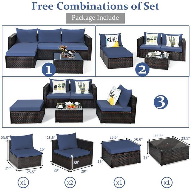 5PCS Patio Rattan Furniture Set Sectional Conversation Sofa w/ Coffee Table HW66521 2