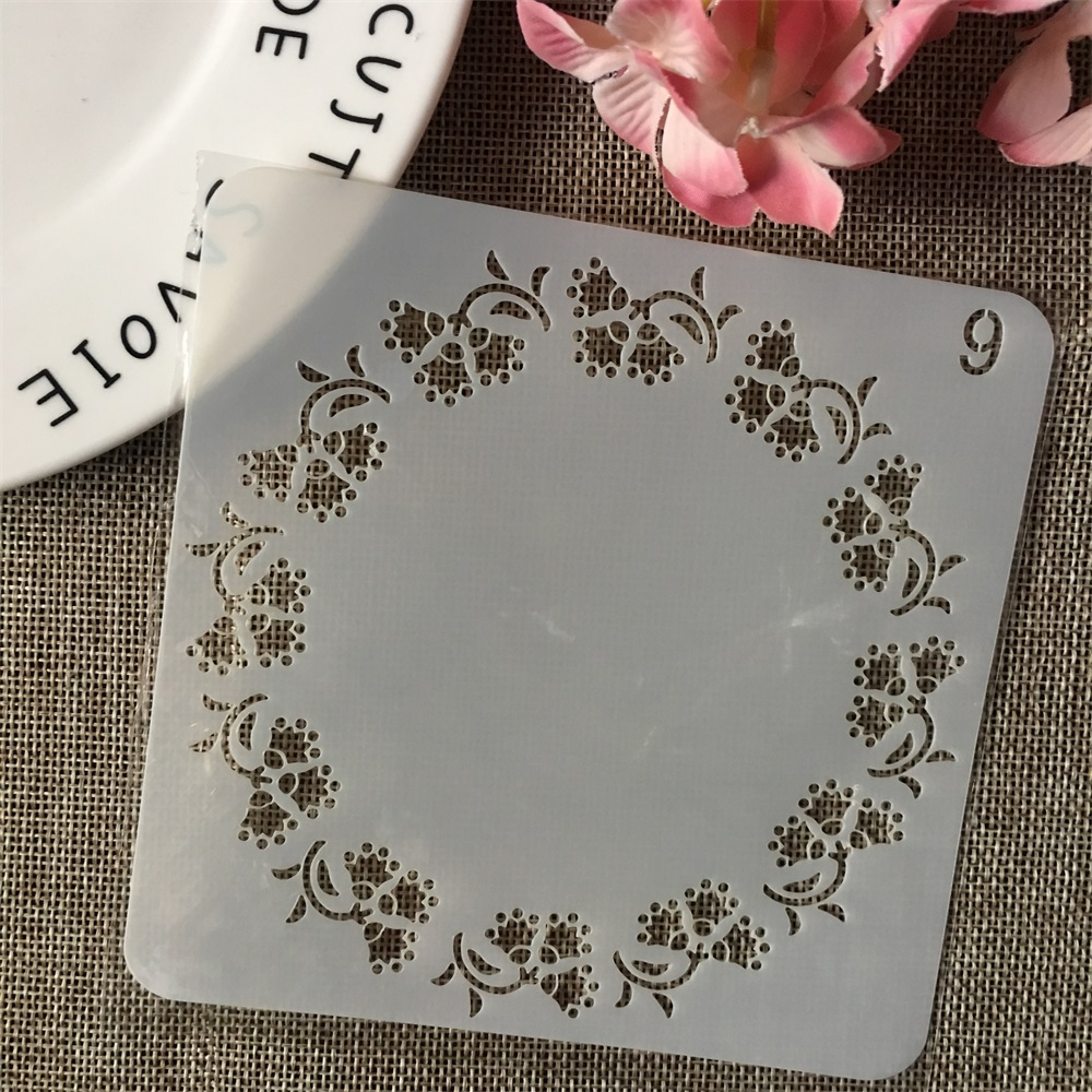 13cm Leaves Circle Round DIY Layering Stencils Wall Painting Scrapbook Coloring Embossing Album Decorative Card Template