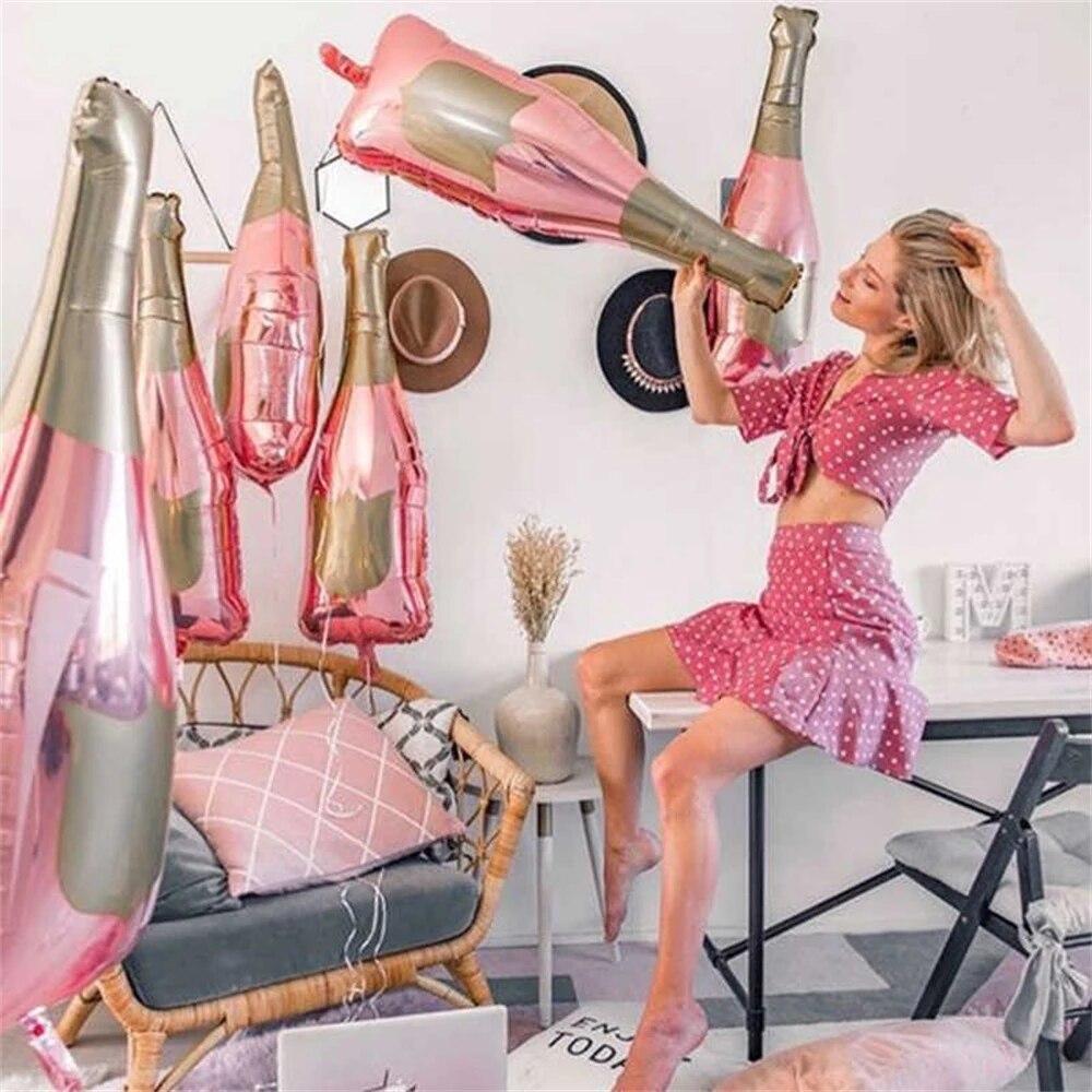 50Pcs Rose Gold Champagne Bottle Wine Mylar Balloons Party Decorations Kit Valentine's Day Bridal Shower Wedding Bachelorette