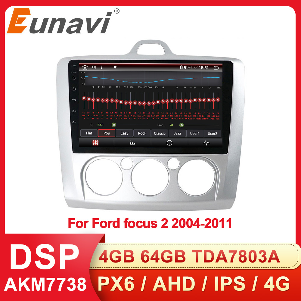 Eunavi 2 Din Android Car Radio Multimedia Player GPS For ford focus 2 3 Mk2 Mk3 2004-2011 hatchback 2din Audio 9'' Headunit DSP image