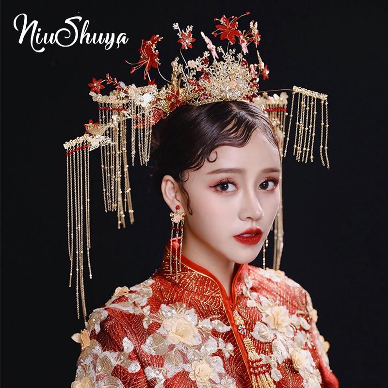NiuShuya accessoires de cheveux de Style chinois traditionnel coiffure Vintage casque or scène spectacle de Performance grand bijoux de cheveux