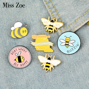 Bee Enamel Pin Custom homophonic Be Kind Save Bee Brooches Bag Clothes Lapel Pin Pink Blue Round Badge Honey Bee Jewelry Gift(China)