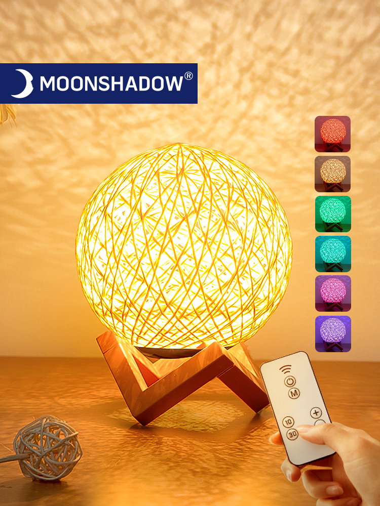 Sepak takraw led luz da noite lua criativo presente estrelado com controle remoto usb lâmpada de mesa de carregamento quarto para decoração casa