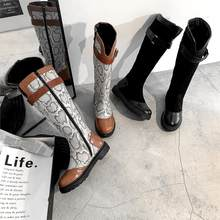 Solid Color Snake Skin Boot Women High Heel Thick Boot Snakeskin Pointed Toe Zip Shoes Female Leather Boots Fashion Winter Shoes(China)