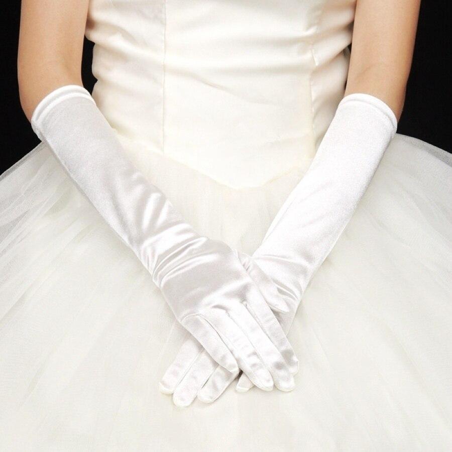 Wedding Gloves Bridal Gloves Satin Long Finger Gloves White Black Ivory Wedding Accessories