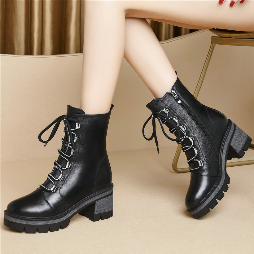 Women Lace Up Straps Genuine Leather Chunky High Heels Round Toe Military Riding Boots HIgh Top Punk Goth Platform Pumps Shoes