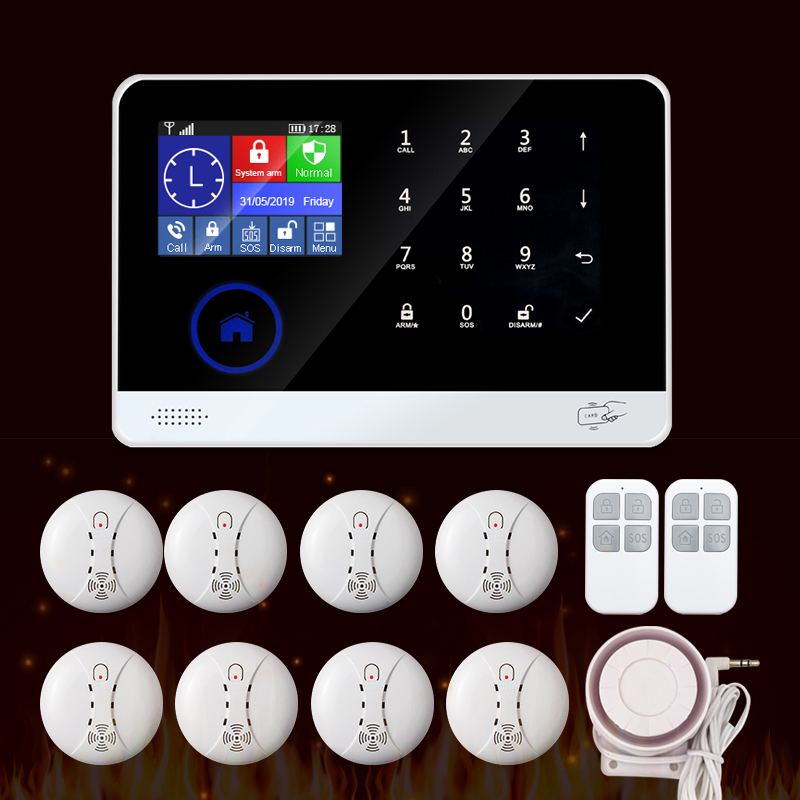 WIFI GSM Home Security Burglar Alarm Fire Smoke Alarm System