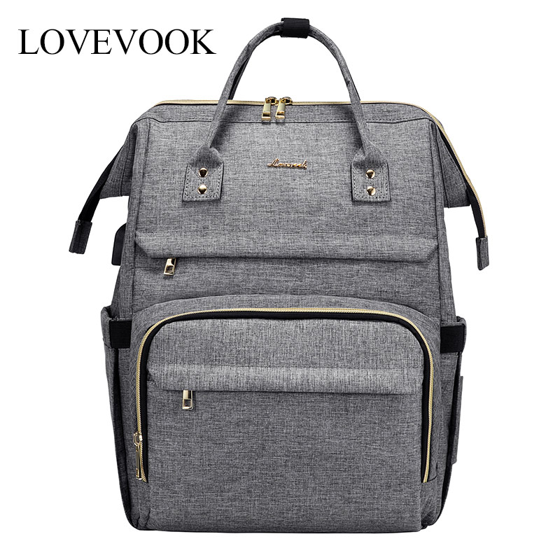 LOVEVOOK Women Laptop Backpacks Multifunctional Canvas Backpacks Unisex Waterproof Anti-thieft Backpacks For School/work/travel