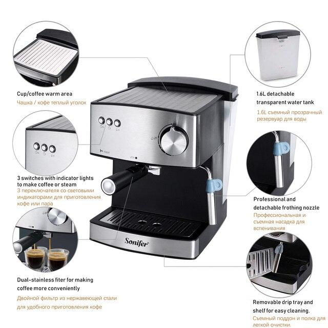 1.6L Espresso Electric Coffee Machine Express Electric Foam Coffee Maker Electric Milk Frother Kitchen Appliances 220V Sonifer 1