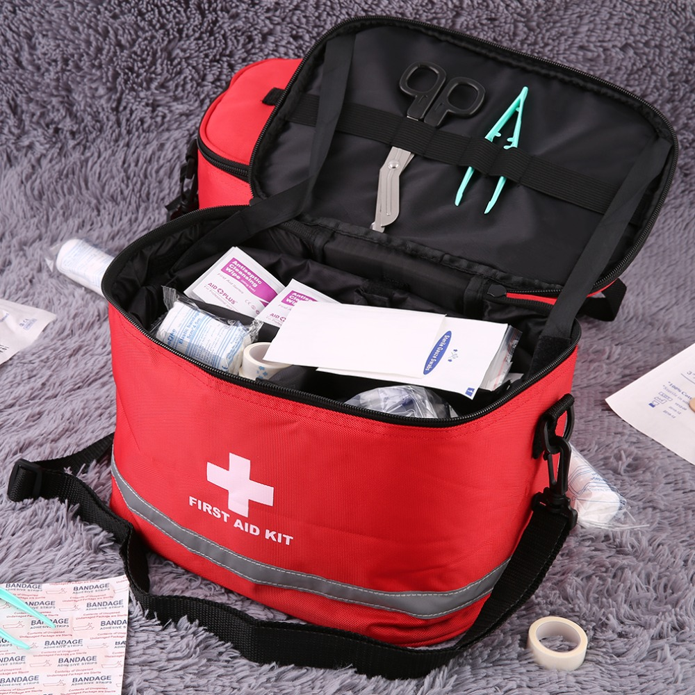 Outdoor First Aid Kit Sports Camping Bag Home Medical Emergency Survival Package Red Nylon Striking Cross Symbol Crossbody Bag