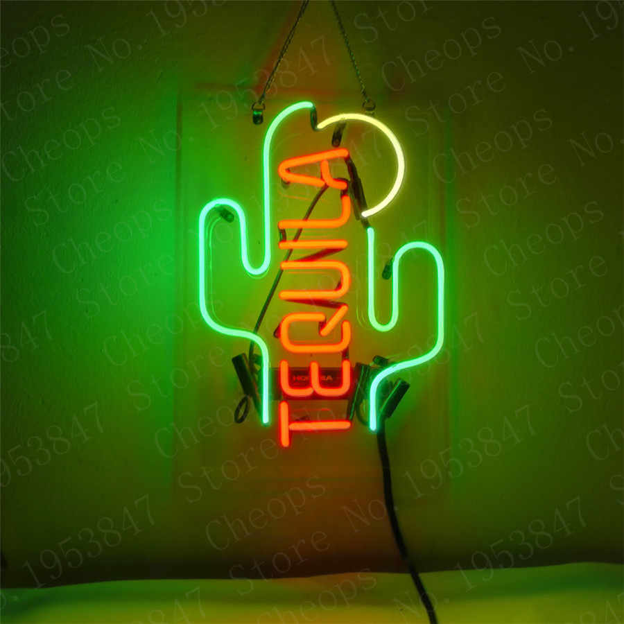 Tequila Kaktus Geschenk Neon Zeichen Echt Glasrohr Open Bier Bar Pub Homeroom Girlsroom Party Decor 14x9