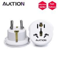 5Pcs/Lot AUKTION Universal EU Adapter US UK AU CN to EU Plug Adapter Europe Converter Travel Charger Wall Power Socket Adapter|Chargers| |  -