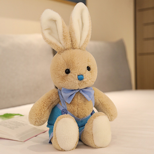 1pc 40cm Lovely Couples Strap Rabbit Plush Toys Stuffed Cute Bunny Doll Soft Accompany Toys for Children Baby Girls Wedding Gift