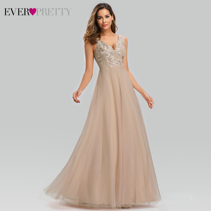 Elegant Blush Evening Dresses For Women Ever Pretty A Line Double V Neck Lace Embroidery Formal Party Gowns Vestito Lungo 2019 in Evening Dresses from Weddings Events