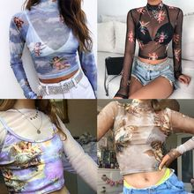 Womens Summer Long Sleeves Mock Neck Crop Top Romantic Colored Angel Cupid Printed T-Shirt See Through Mesh Party Club Blouse