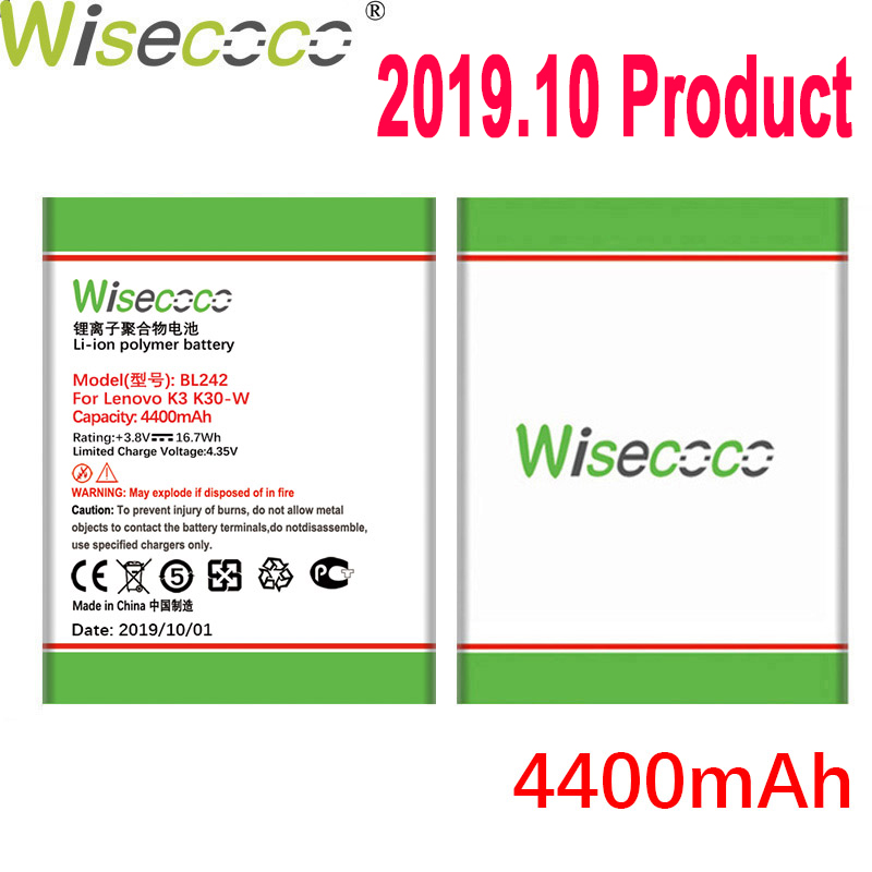 WISECOCO 4400mAh BL242 <font><b>Battery</b></font> For <font><b>Lenovo</b></font> K3 K30-W K30-T A6000 A3860 A3580 A3900 <font><b>A6010</b></font> <font><b>A6010</b></font> Plus Mobile Phone+Tracking Number image