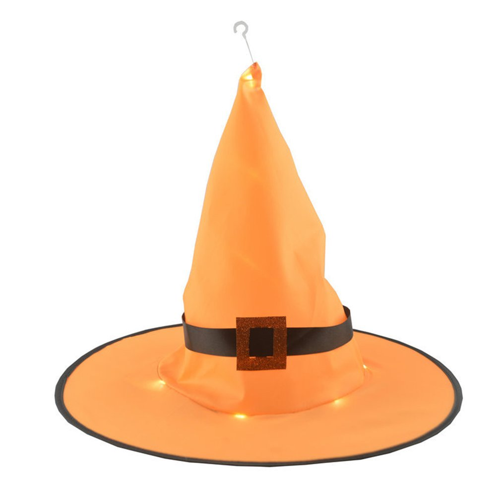 Cosplay Halloween Glow Witch Hat Orange Buckle Witch Hat Halloween Party  Fancy Dress Decor Top Hat Christmas Gift Dropshipping