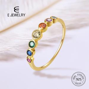Image 1 - E  Real Sterling Silver 925 Rainbow Ring Womens Color Cubic Zirconia Rings 14K Gold plated Eternity Wedding Rings Jewelry