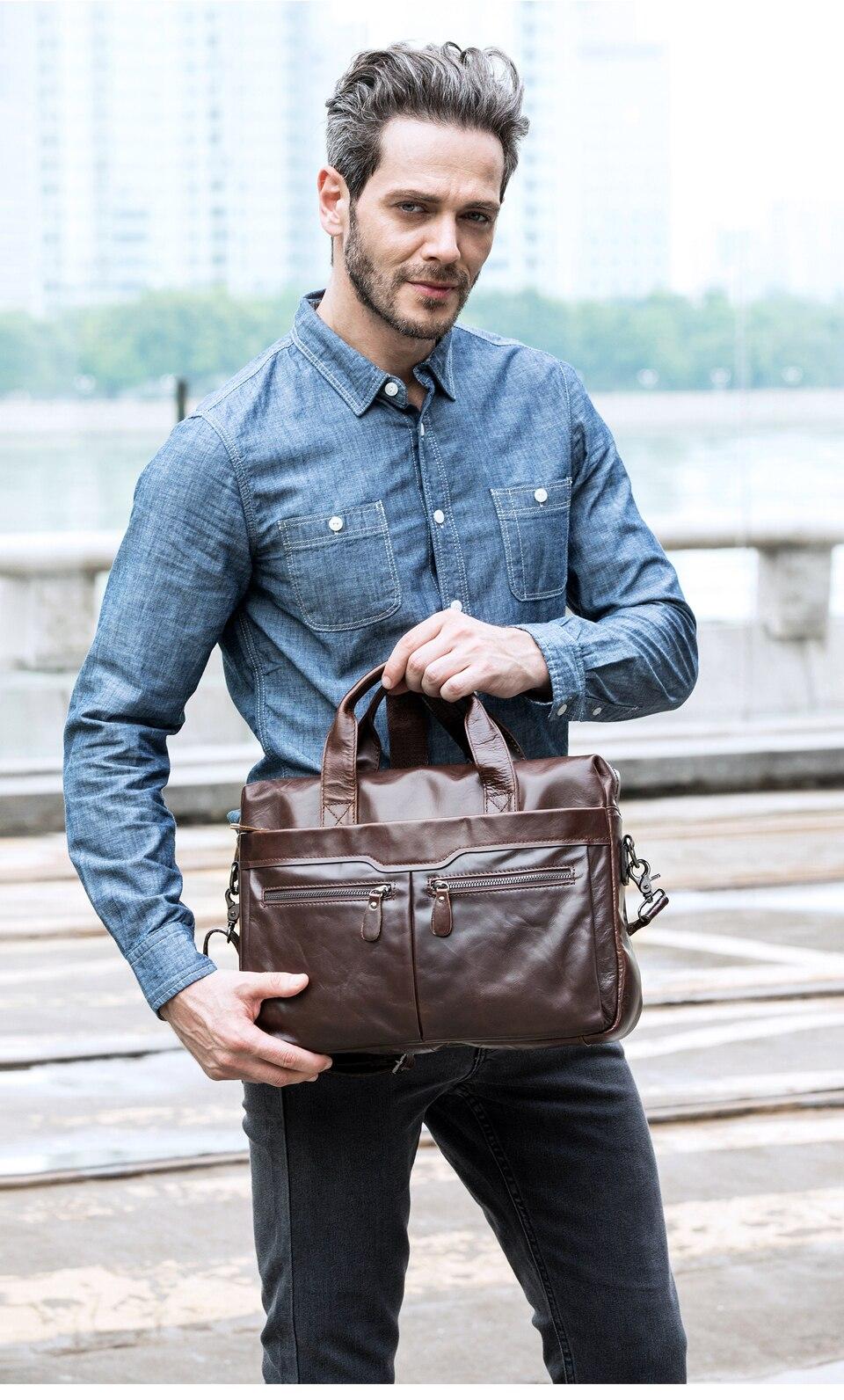 homens maletas de couro genuíno bolsas de