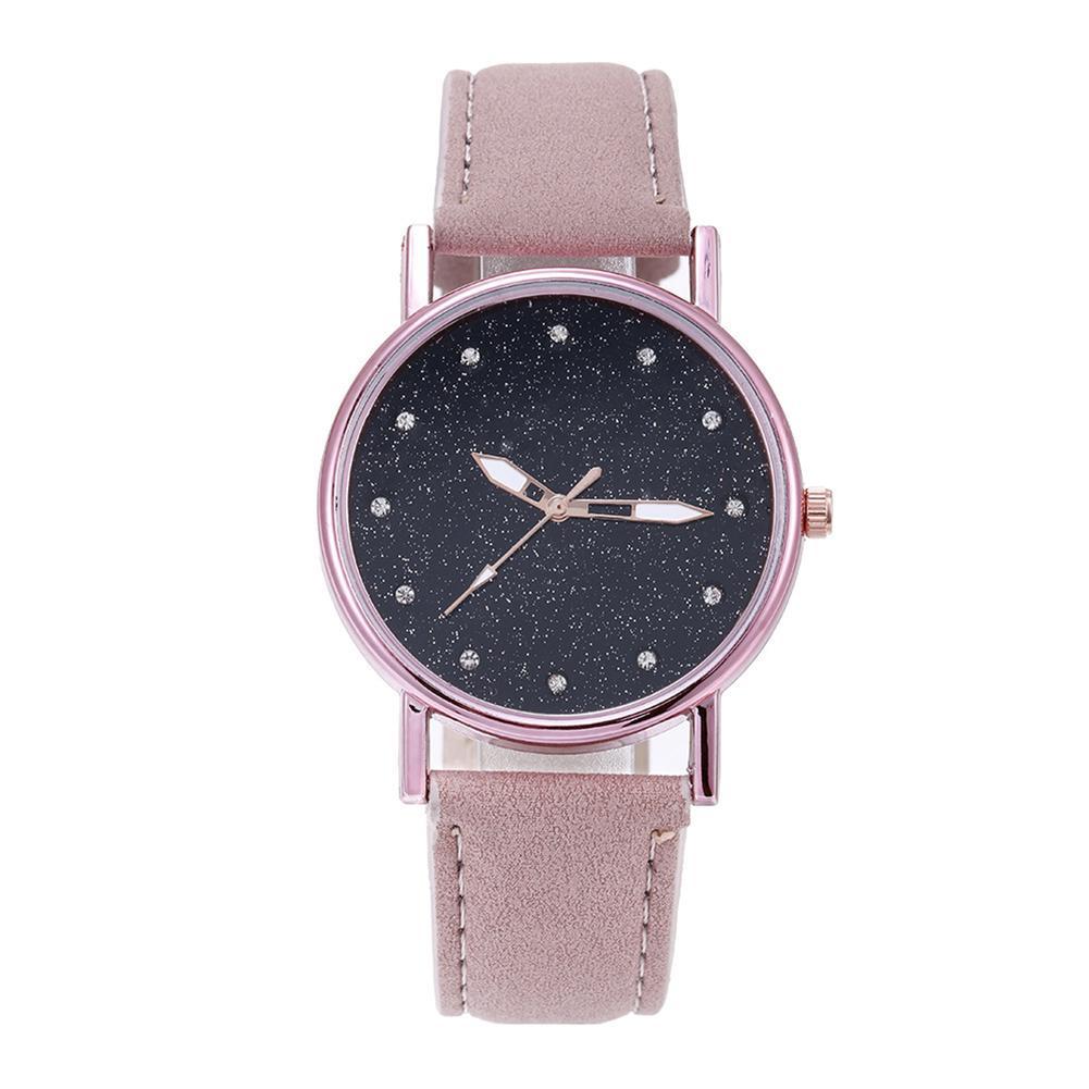 Minimalist Women Watch Rhinestone Starry Round Dial Girls Watch Casual Faux Leather Strap Quartz Ladies Wristwatches Reloj Mujer