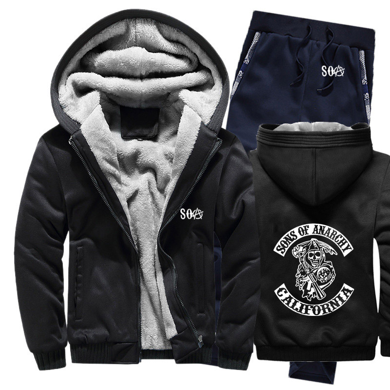SOA Sons Of Anarchy Skull Printed Hoodies Mens Suit Winter Fleece Thicken Warm Zipper Sweatshirt Mens Hoodies Jacket +Pants 2Pcs
