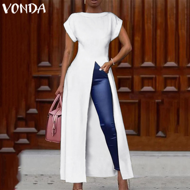 VONDA Summer Maxi Dress Women Sexy Split Hem Dress Long Party Blouse 2019 Female Office Ladies Sundress Casual Vestido Plus Size