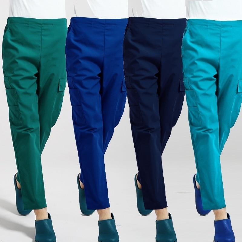 Women Men Drawstring Scrubs Pants Six Pockets Medical Uniforms Doctor Nurse Workwear Elastic Waistline Scrub Bottoms Cotton
