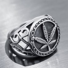 2019 Stainless Steel Weed Hemp Cannabises Signet Ring Punk Maple Leaf Big Band Rings For Women Men Biker Jewelry Bague(China)