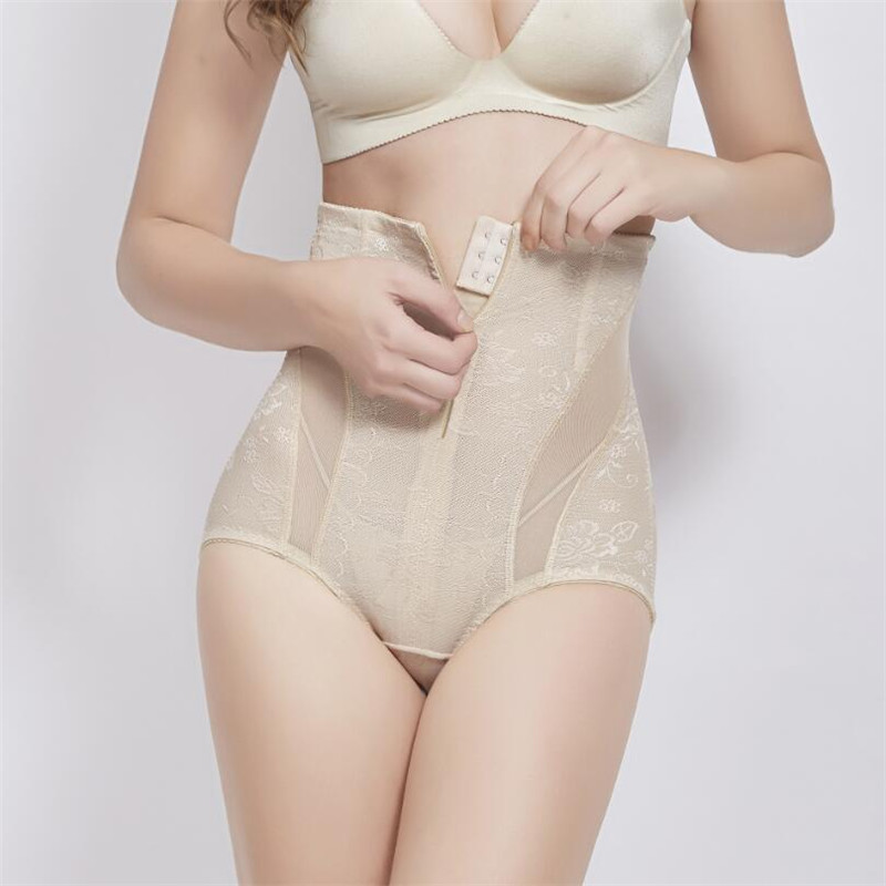Inadice High Quality Elastic Belt Lace High Waist Tummy Control Body Shaper For Lady Briefs Slimming Pants Sexy Underwear Buckle