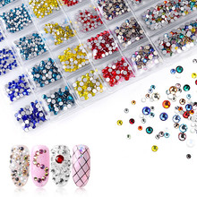 1 Pack/1440 pcs Flatback Glass Nails Rhinestones Mixed Sizes Nail Art Decoration Stones Shiny Gems Manicure Accessories DIY(China)