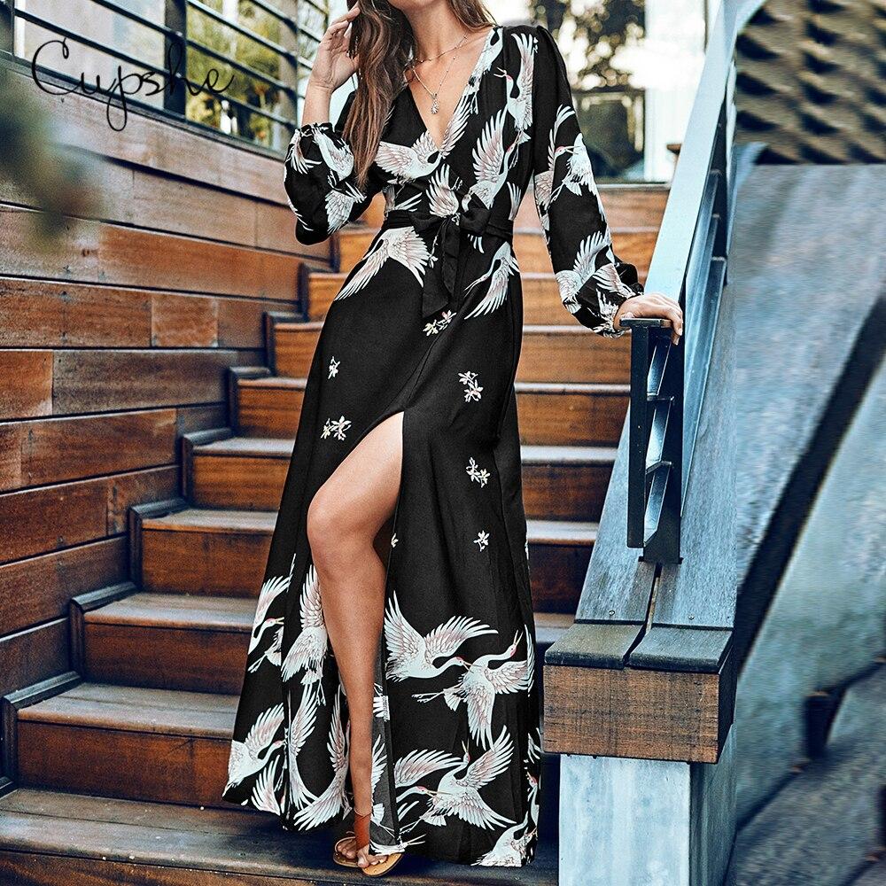 CUPSHE Elegant V Neck Slim Crane Print Long Maxi Dress 2019 New Summer Beach Boho Wrap Sundress Vestido