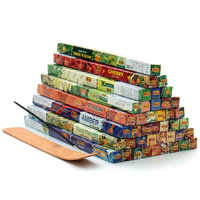 3/6/9/12 Mixed Flavor Indian Aromatherapy Incense Small Boxes Give Wood Plate Incense Sticks Holder Tibetan Sandalwood A $
