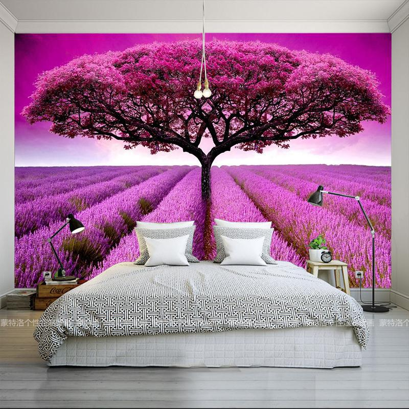 Ge Lan Mural 3D Scenery Lavender Wall Entrance Hallway Wallpaper Living Room Restaurant Bedroom Wall Seamless Customizable