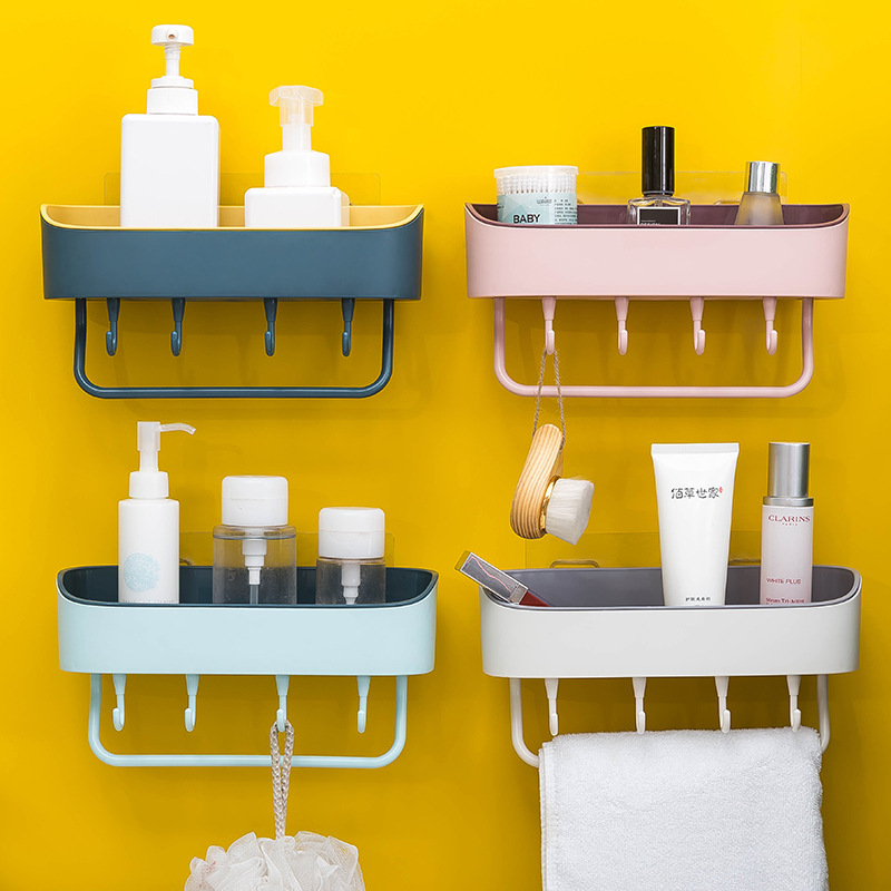Punch-free Kitchen bathroom shelf Towel rack bathroom vanity wall hanging bathroom storage rack basket With Hook Bathroom Rack