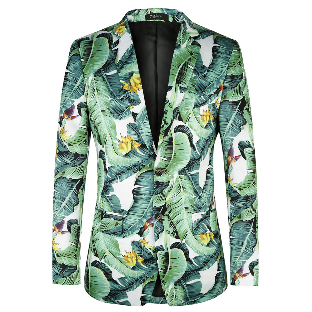 Festival Printed Summer Mens Blazers New Arrival 2020 Plus European Size 46-58 Banana Leaf Pattern Floral Suit Jackets Blazer