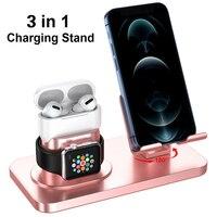 Base de carga 3 en 1 para iPhone 11, XR, XS Max, 8, 7 Plus, Apple Watch, Airpods pro, soporte de carga USB, estación de carga tipo C