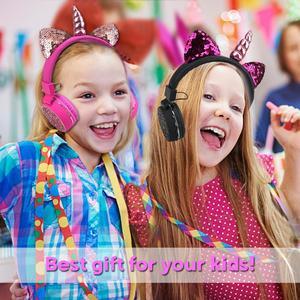 Image 5 - Fone de ouvido sem fio de unicórnio para crianças, headset estéreo com bluetooth, estéreo, desenho animado, para adultos, meninos e meninas, presentes