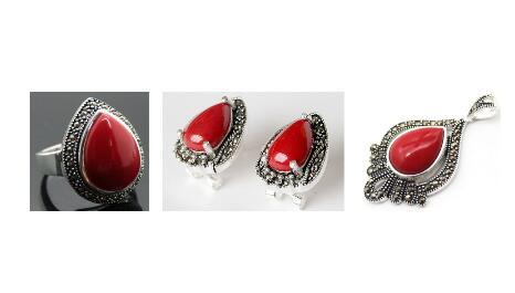 Bague en argent Sterling 925 marcassite en laque sculptée en corail rouge (#6-9)