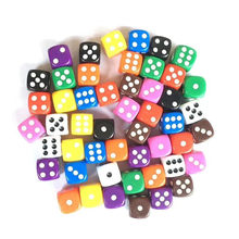 50 pces 16mm multi cor de seis lados d6 jogo jogo jogo jogo de tabuleiro de jogo de dados opacos para bar pub club party