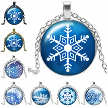 2019 Latest Ice and Snow World Snowflake Pattern Series Glass Convex Fashion Pendant Necklace Birthday Gift