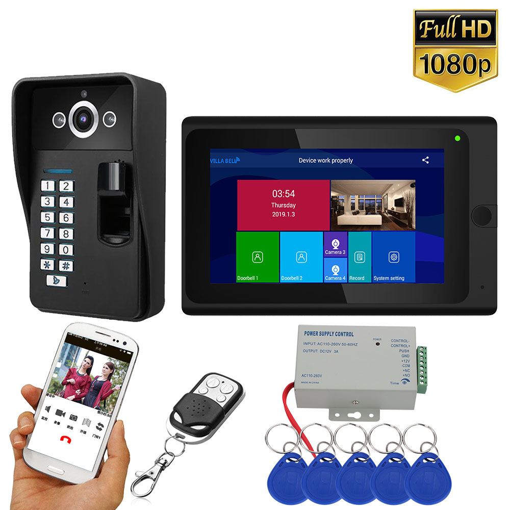 7 Inch 2 Monitors Wifi Wireless Fingerprint RFID Video Door Phone Doorbell Intercom System With Wired HD 1080P Camera