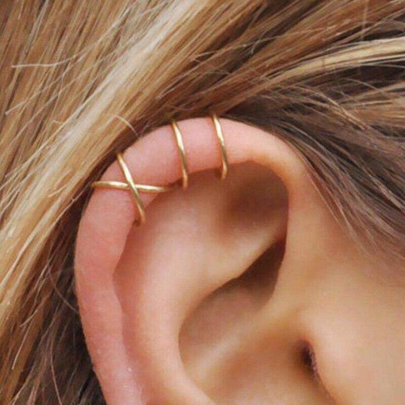5Pcs/Set Stainless Steel C Shape Cross Clip Ear Cuffs Gold Leaf Ear Clip Earrings For Women No Piercing Fake Cartilage Earring