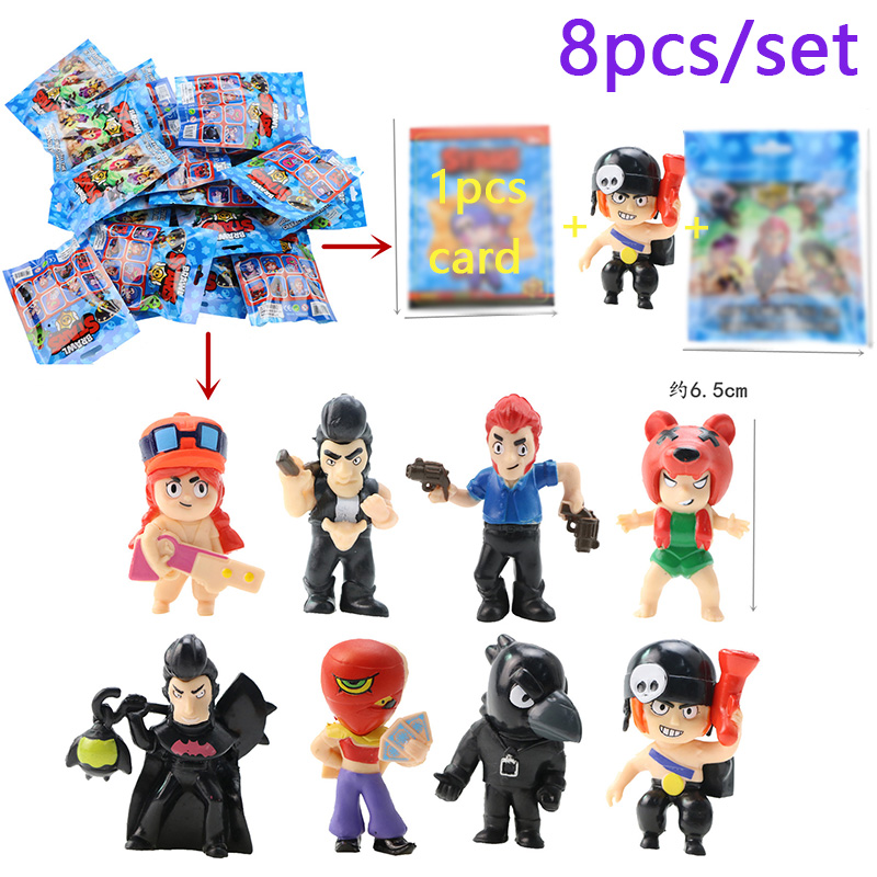 8 Packs/lot Brawls Figure Game Toys With Card Pack Star Hero Model Spike Shelly Colt Leon Doll New Year Xmas Gift For Children