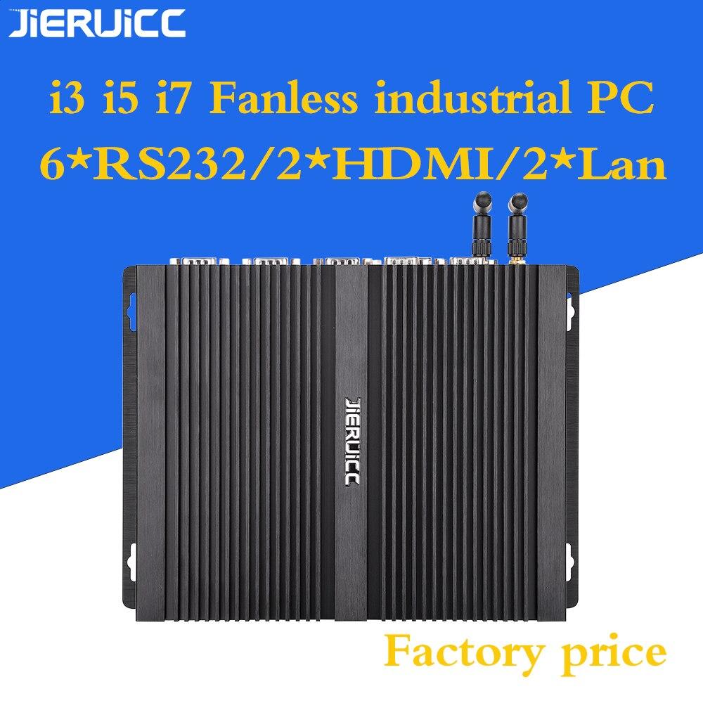 Industrial Mini PC Windows 7 Core I3 I5 I7 2*Intel Gigabit NICS 6*RS232 Slim Computer 2*HDMI HTPC Medical Equipment Control Pc