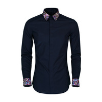 2018 New Style Embroidered Collar Colorful Floral Embroidered Long Sleeve Men Shirt Slim Fit Fashion Man Shirt
