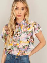 купить CINESSD The Sexy Elegant Flower Print Tops And Blouses For Women Autumn Butterfly Sleeveless V-neck Female Shirts Plus Size дешево
