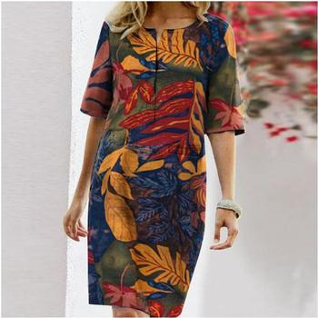 Autumn Cotton Linen Dress 2020 Spring Button O-Neck Printing Knee Party Dress Women Long Sleeve Dresses Plus Size 4XL 1